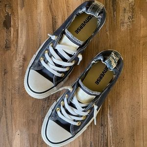 CUSTOM navy and white Converse Low Tops